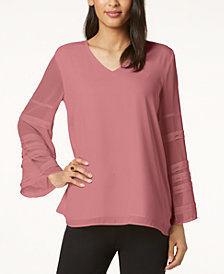 Alfani Petite Statement-Sleeve Blouse, Created for Macy's