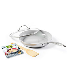 "GreenPan Venice Pro Holiday 11"" Stainless Steel Covered Frypan with Bamboo Turner & Cookbook"
