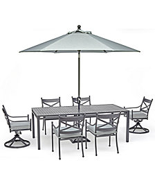 "Montclaire Outdoor Aluminum 7-Pc. Dining Set (84"" X 42"" Table, 4 Dining Chairs & 2 Swivel Chairs) With Sunbrella® Cushions, Created For Macy's"