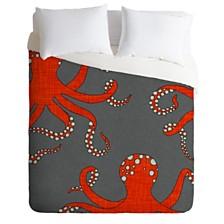 Deny Designs Holli Zollinger Octopus Red Queen Duvet Set