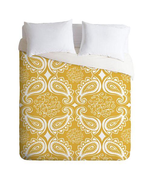 Deny Designs Heather Dutton Plush Paisley Goldenrod Twin Duvet Set