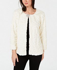 Petites Faux Fur Sequin Jacket, Created for Macy's