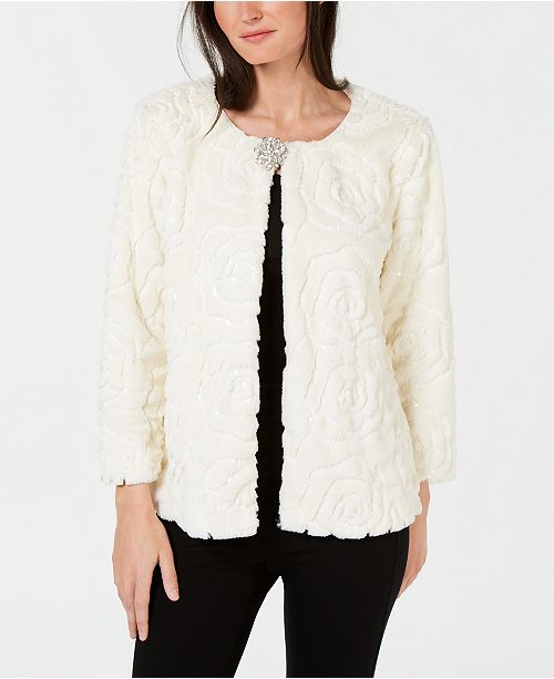 JM Collection Sequined Faux-Fur Broach Jacket, Created for Macy's