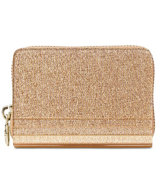 93b89db08620 Michael Kors Barbara Metallic Zip-Around Coin Card Case & Reviews ...
