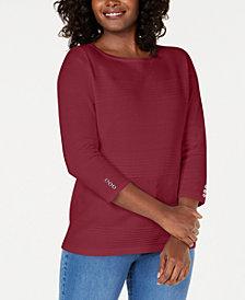 Karen Scott Petite Cotton Pointelle Sweater, Created for Macy's