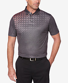 PGA TOUR Men's Short Sleeve Gradient Tech Windowpane Texture-Print Polo