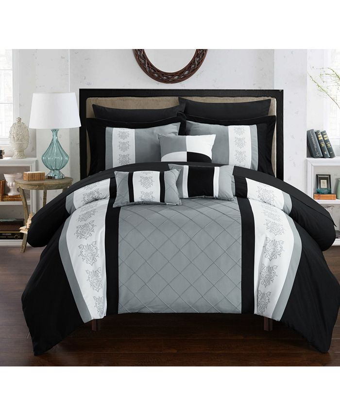 Chic Home - Clayton 10-Pc. Queen Bed In a Bag Comforter Set