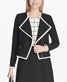 Calvin Klein Lux Piped Zip-Front Moto Jacket