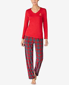 Lauren Ralph Lauren Petite Knit Top & Fleece Pants Pajama Set