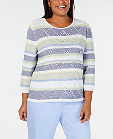 Alfred Dunner Plus Size Greenwich Hills Textured Striped Sweater