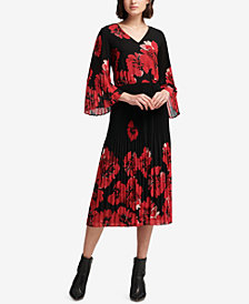 DKNY Pleat-Detail Floral-Print Dress, Created for Macy's