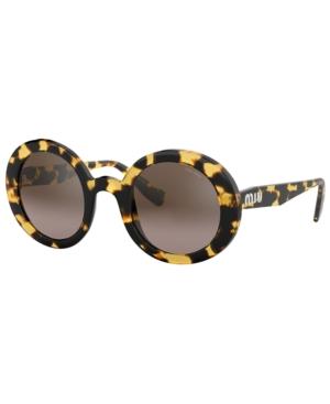 Miu Miu Round Gradient Sunglasses In Ivory