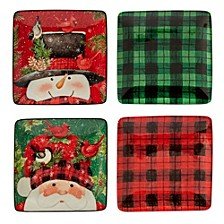 Winter's Plaid 4-Pc. Canape Plates