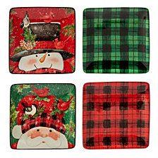 Certified International Winter's Plaid 4-Pc. Canape Plates