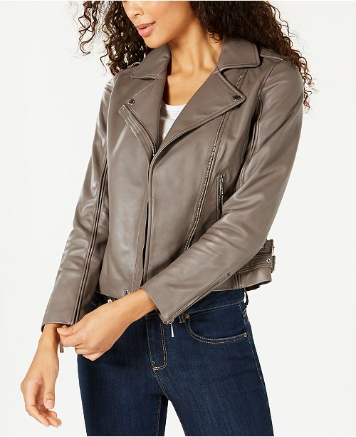 Michael Kors Leather Side-Strap Moto Jacket