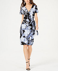 I.N.C. Printed Flutter-Sleeve Wrap Dress, Created for Macy's