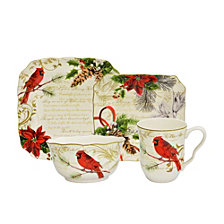 222 Fifth Holiday Wishes 16 Piece Dinnerware Set