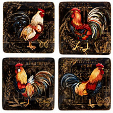 Certified International Gilded Rooster 4-Pc. Canape Plate