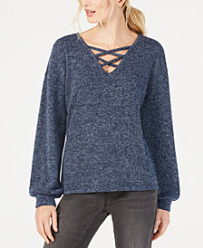 I.N.C. Criss-Cross V-Neck Top, Created for Macy's