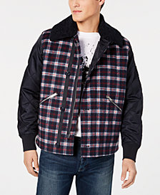 A|X Armani Exchange Men's Pattern-Blocked Plaid Jacket