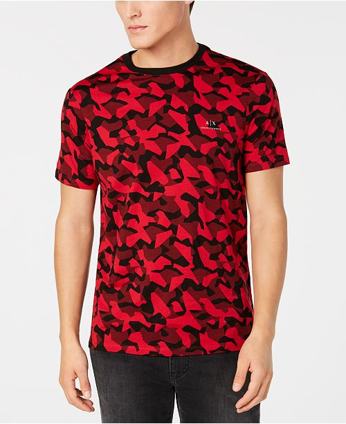 84a0e2023093 ... A|X Armani Exchange Men's Red & Black Camo T-Shirt, Created for ...