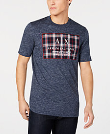 A|X Armani Exchange Men's Tartan Logo Patch T-Shirt