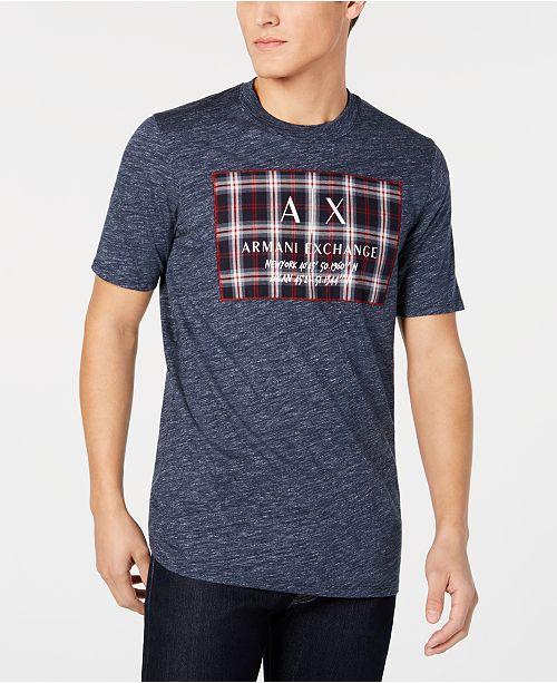 A X Armani Exchange Men's Tartan Logo Patch T-Shirt