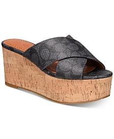 COACH Cross-Band Wedge Sandals
