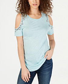 I.N.C. Embellished Cold-Shoulder Top, Created for Macy's