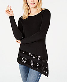 I.N.C. Sequined Asymmetrical Sweater, Created for Macy's
