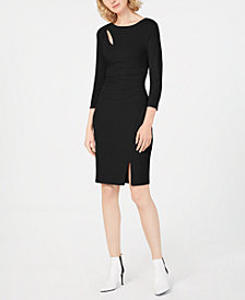 I.N.C. Petite Ruched 3/4-Sleeve Bodycon Dress, Created for Macy's