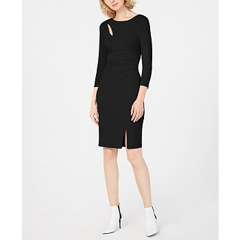 INC International Concepts I.N.C. Ruched 3/4-Sleeve Bodycon Dress