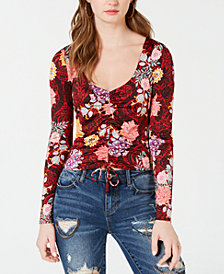 GUESS Long-Sleeve Mikah Ruched Top