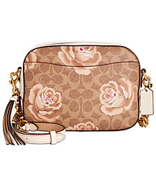 COACH Signature Rose Print Camera Bag