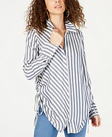I.N.C. Striped Ruched Button-Front Shirt, Created for Macy's