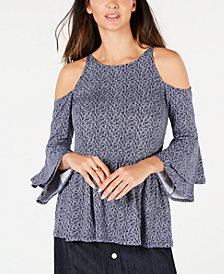 MICHAEL Michael Kors Printed Cold-Shoulder Peasant Top