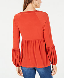 MICHAEL Michael Kors Chain Lace-Up Peasant Top