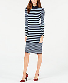 MICHAEL Michael Kors Striped Mock-Neck Dress