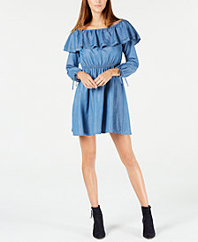 MICHAEL Michael Kors Ruffled Denim Dress