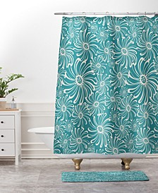 Heather Dutton Bursting Bloom Peacock Bath Mat