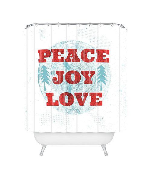 Deny Designs Heather Dutton Peace Joy Love Woodcut Shower Curtain