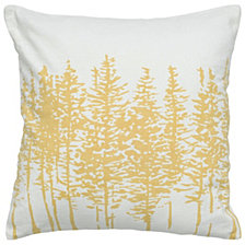 "Rizzy Home Yellow 18"" X 18"" Trees In A Line Poly Filled Pillow"