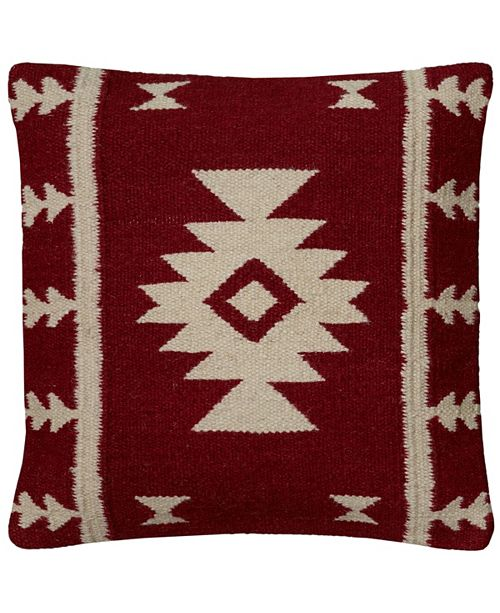 """Rizzy Home 18"""" x 18"""" Stripes with Motif Accents Poly Filled Pillow"""