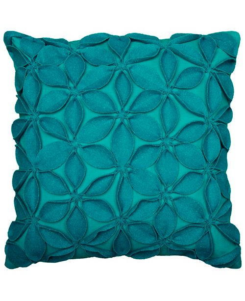 """Rizzy Home 18"""" x 18"""" Botanical Petals Poly Filled Pillow"""