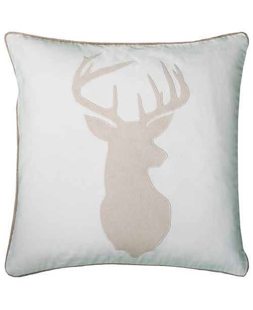 "Rizzy Home 20"" x 20"" Deer Head Poly Filled Pillow"
