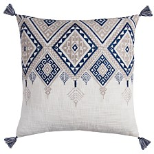 """Rizzy Home 20"""" x 20"""" Tribal Aztec Design with Tassels Poly Filled Pillow"""
