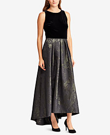 Lauren Ralph Lauren Metallic Jacquard Gown