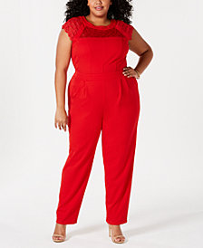 Love Square Plus Size Lace-Yolk Jumpsuit
