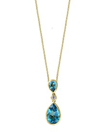 EFFY® Blue Topaz (2 7/8 ct.t.w.) and Diamond Accent Pendant in 14k Gold