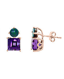 EFFY® Amethyst (3-3/8 ct.t.w.) and Blue Opal (1-3/8 ct. t.w.) Earrings in 14k Rose Gold